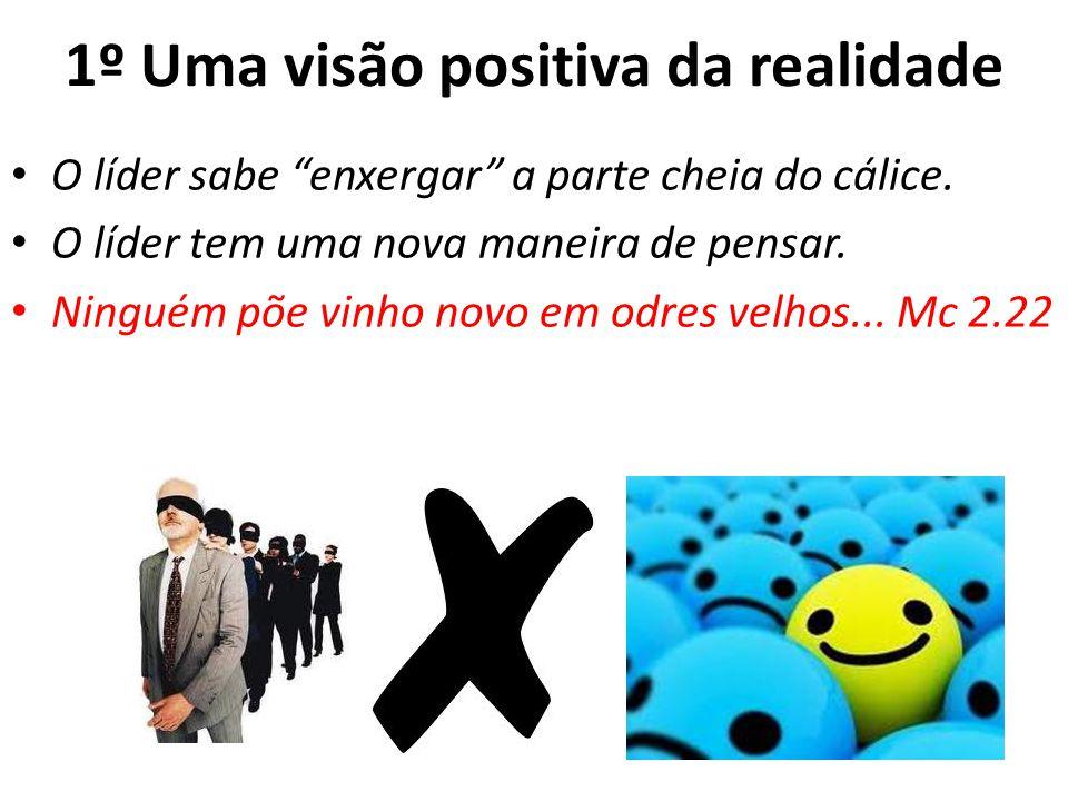 1º Uma visão positiva da realidade O líder sabe enxergar a parte cheia do cálice. O líder tem uma nova maneira de pensar. Ninguém põe vinho novo em od