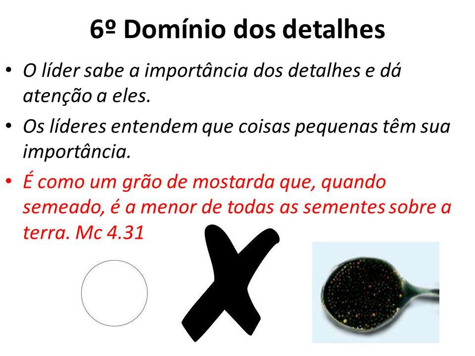 6º Domínio dos detalhes O líder sabe a importância dos detalhes e dá atenção a eles.