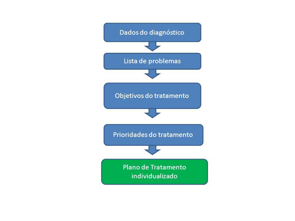 Dados do diagnóstico Lista de problemas Objetivos do tratamento Prioridades do tratamento Plano de Tratamento individualizado