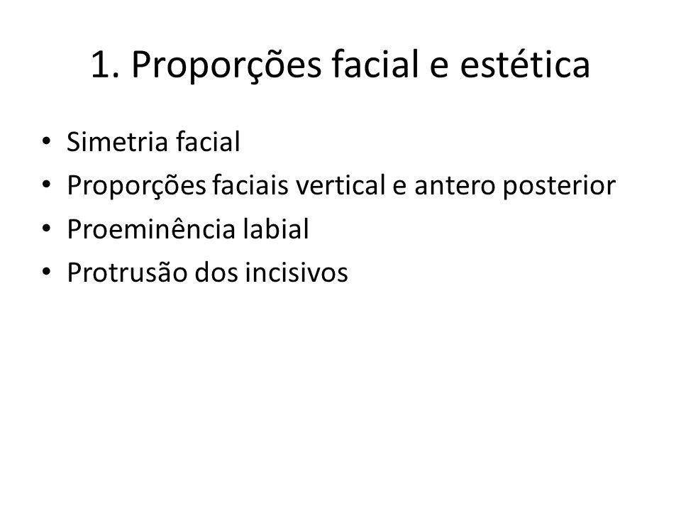 1. Proporções facial e estética Simetria facial Proporções faciais vertical e antero posterior Proeminência labial Protrusão dos incisivos