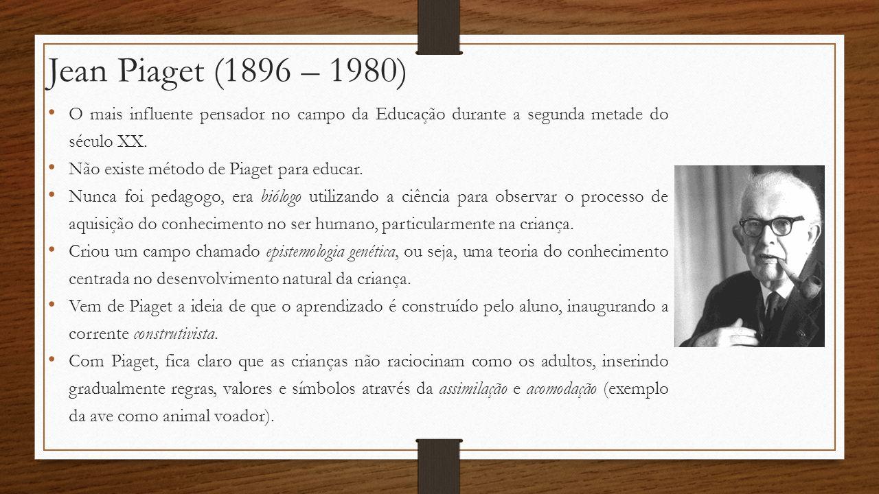 Jean Piaget (1896 – 1980) O mais influente pensador no campo da Educação durante a segunda metade do século XX. Não existe método de Piaget para educa