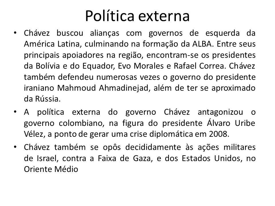 Política externa Chávez buscou alianças com governos de esquerda da América Latina, culminando na formação da ALBA. Entre seus principais apoiadores n