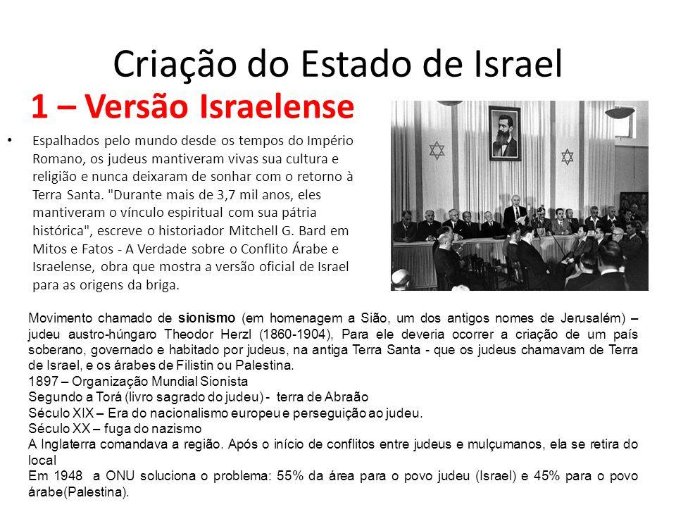 Criação do Estado de Israel 1 – Versão Israelense Espalhados pelo mundo desde os tempos do Império Romano, os judeus mantiveram vivas sua cultura e re