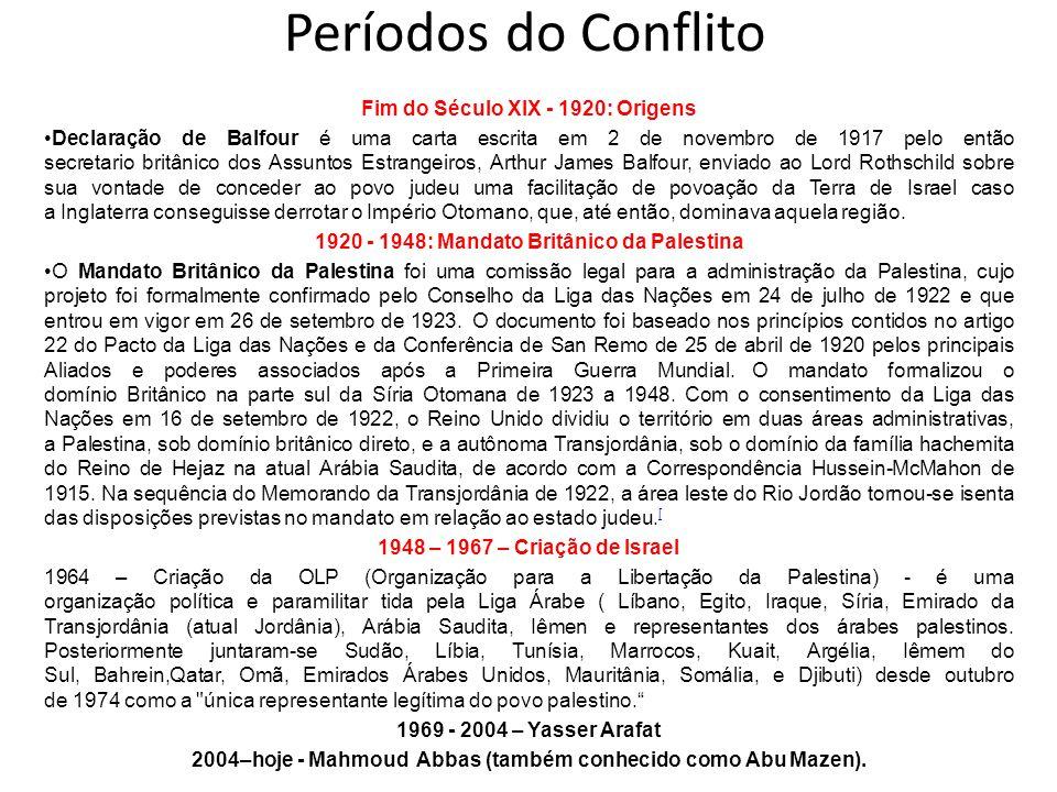Períodos do Conflito Fim do Século XIX - 1920: Origens Declaração de Balfour é uma carta escrita em 2 de novembro de 1917 pelo então secretario britân