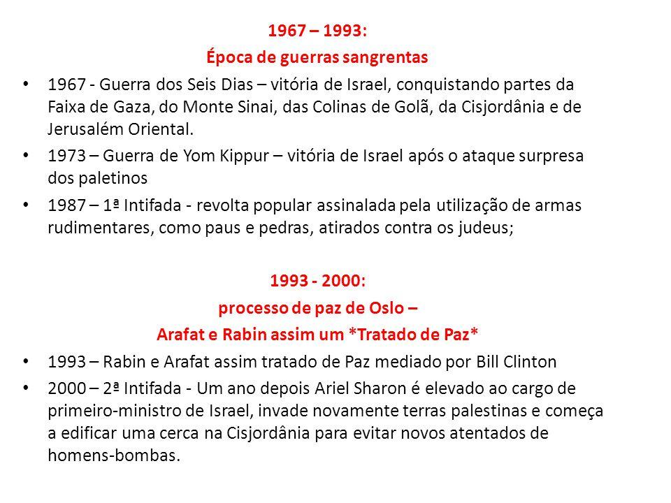 1967 – 1993: Época de guerras sangrentas 1967 - Guerra dos Seis Dias – vitória de Israel, conquistando partes da Faixa de Gaza, do Monte Sinai, das Co