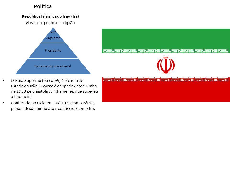 Política República Islâmica do Irão (Irã) Governo: política + religião O Guia Supremo (ou Faqih) é o chefe de Estado do Irão. O cargo é ocupado desde
