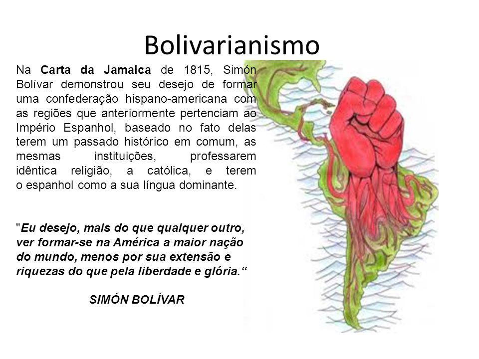 Independência e Bolívar Independência da Grande Colômbia (Colômbia, Venezuela, Equador e Panamá, então parte da Colômbia) 1824 põe fim definitivamente ao domínio espanhol na América (com exceção das Grandes Antilhas) Após a morte de Bolívar e do fracasso do seu objetivo, nasce um sentimento pan- sulamericano que quer por fim a influência europeia e norte americana na América