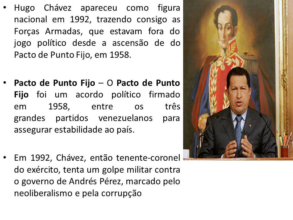 Hugo Chávez apareceu como figura nacional em 1992, trazendo consigo as Forças Armadas, que estavam fora do jogo político desde a ascensão de do Pacto de Punto Fijo, em 1958.
