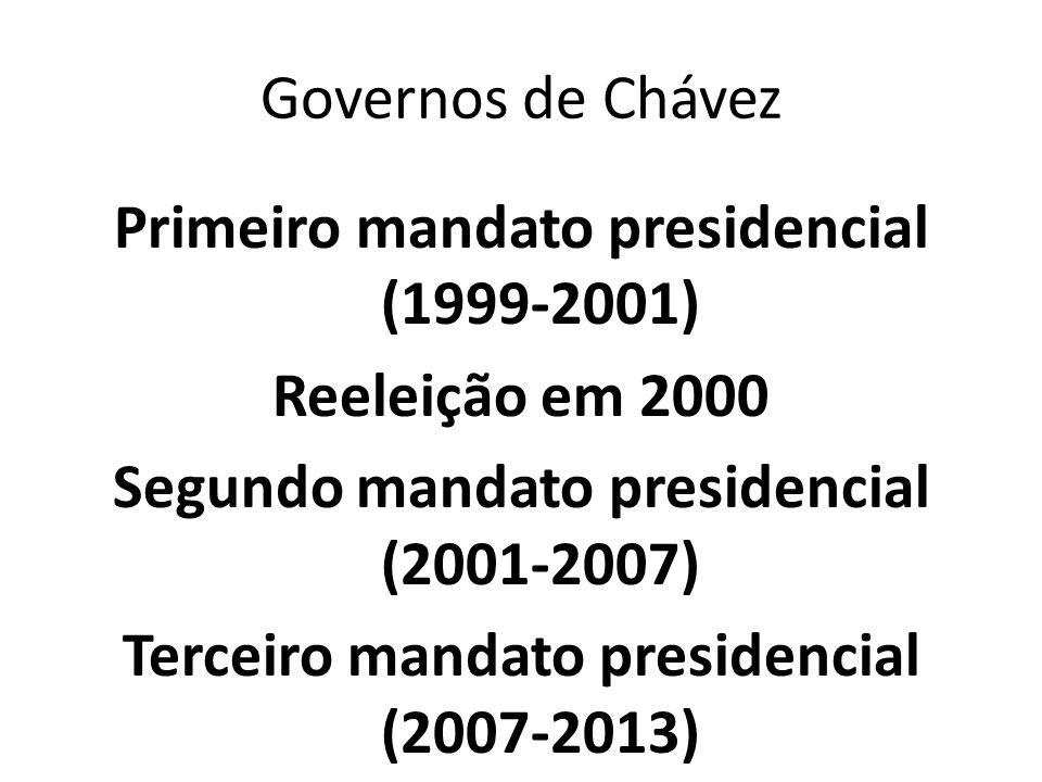 Governos de Chávez Primeiro mandato presidencial (1999-2001) Reeleição em 2000 Segundo mandato presidencial (2001-2007) Terceiro mandato presidencial