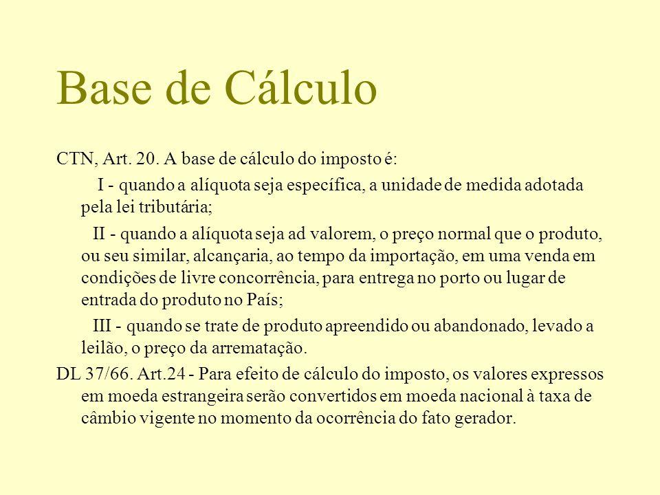 Base de Cálculo CTN, Art. 20. A base de cálculo do imposto é: I - quando a alíquota seja específica, a unidade de medida adotada pela lei tributária;