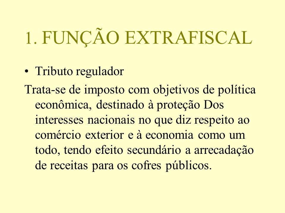 1. FUNÇÃO EXTRAFISCAL Tributo regulador Trata-se de imposto com objetivos de política econômica, destinado à proteção Dos interesses nacionais no que