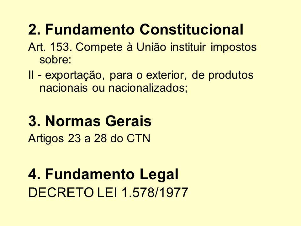 2. Fundamento Constitucional Art. 153. Compete à União instituir impostos sobre: II - exportação, para o exterior, de produtos nacionais ou nacionaliz