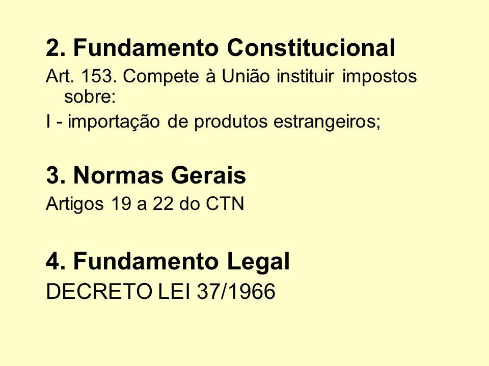 2. Fundamento Constitucional Art. 153. Compete à União instituir impostos sobre: I - importação de produtos estrangeiros; 3. Normas Gerais Artigos 19