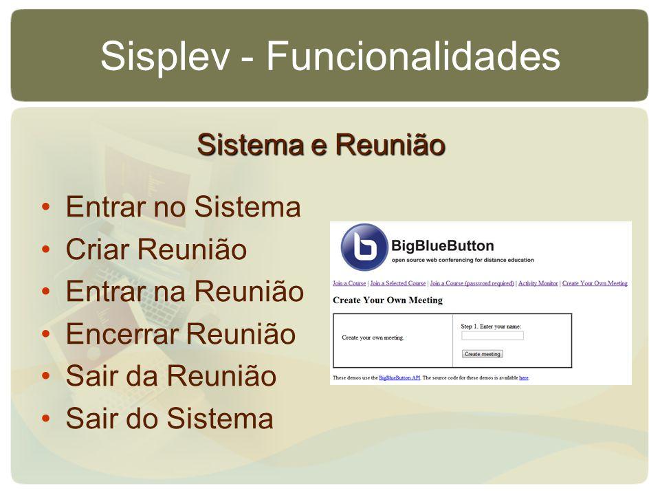 Sisplev - Funcionalidades Entrar no Sistema Criar Reunião Entrar na Reunião Encerrar Reunião Sair da Reunião Sair do Sistema Sistema e Reunião