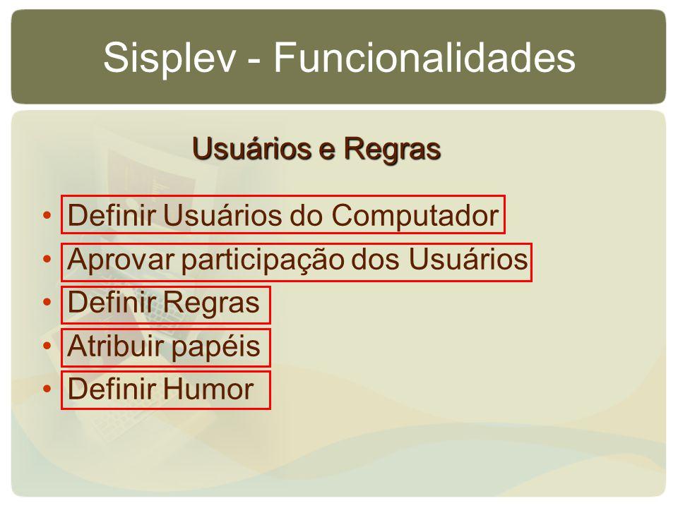 Sisplev - Funcionalidades Definir Usuários do Computador Aprovar participação dos Usuários Definir Regras Atribuir papéis Definir Humor Usuários e Regras