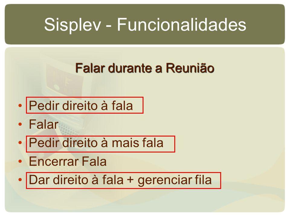 Sisplev - Funcionalidades Pedir direito à fala Falar Pedir direito à mais fala Encerrar Fala Dar direito à fala + gerenciar fila Falar durante a Reuni