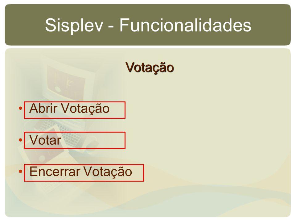Sisplev - Funcionalidades Abrir Votação Votar Encerrar Votação Votação