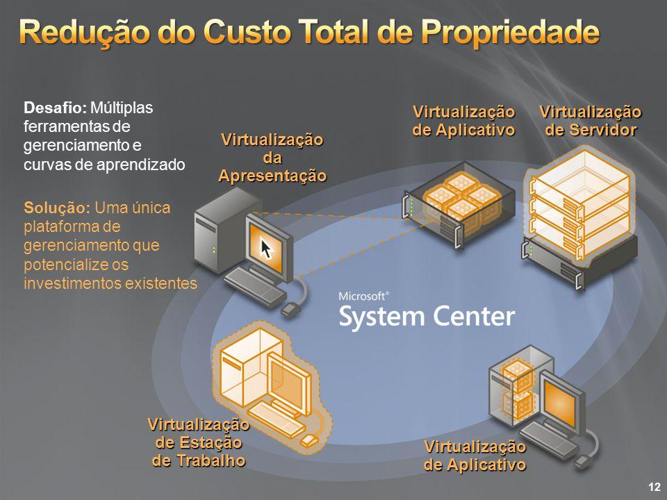 Virtualização de Servidor Virtualização de Aplicativo Virtualização de Estação de Trabalho Virtualização da Apresentação Virtualização de Aplicativo S