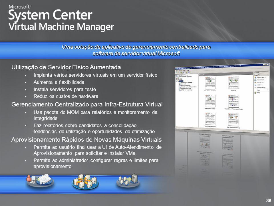 Utilização de Servidor Físico Aumentada Implanta vários servidores virtuais em um servidor físico Aumenta a flexibilidade Instala servidores para test
