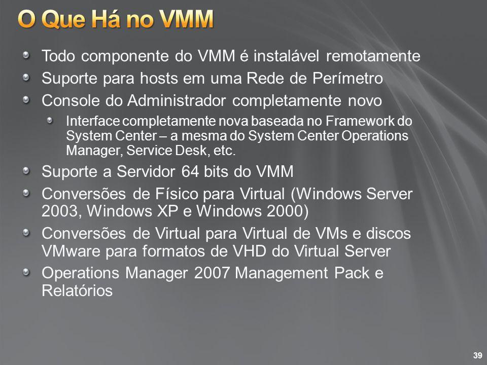 Todo componente do VMM é instalável remotamente Suporte para hosts em uma Rede de Perímetro Console do Administrador completamente novo Interface comp