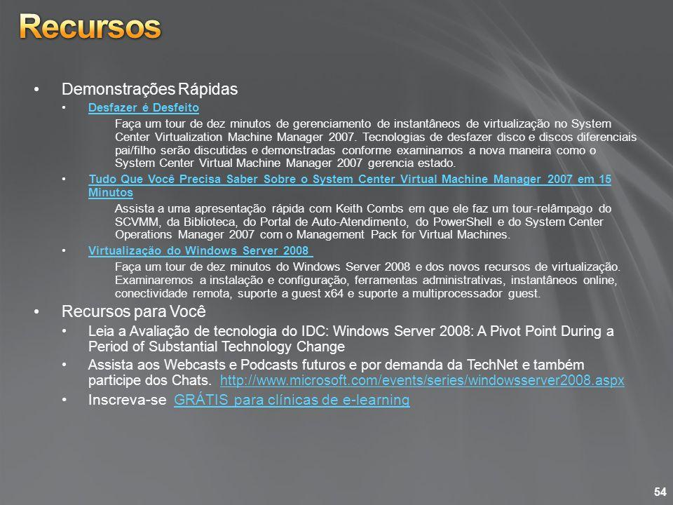 Demonstrações Rápidas Desfazer é Desfeito Faça um tour de dez minutos de gerenciamento de instantâneos de virtualização no System Center Virtualizatio
