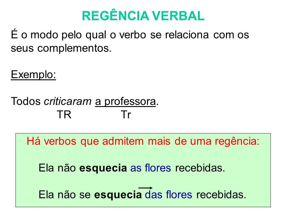 REGÊNCIA VERBAL É o modo pelo qual o verbo se relaciona com os seus complementos. Exemplo: Todos criticaram a professora. TR Tr Há verbos que admitem