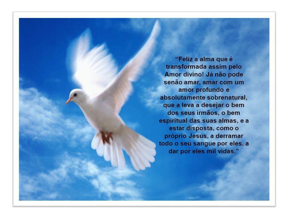 A alma inteiramente entregue à ação do Espírito Santo, e particularmente dos dons, sabe-se amada. Então, encontra-se inteiramente submersa no amor e t