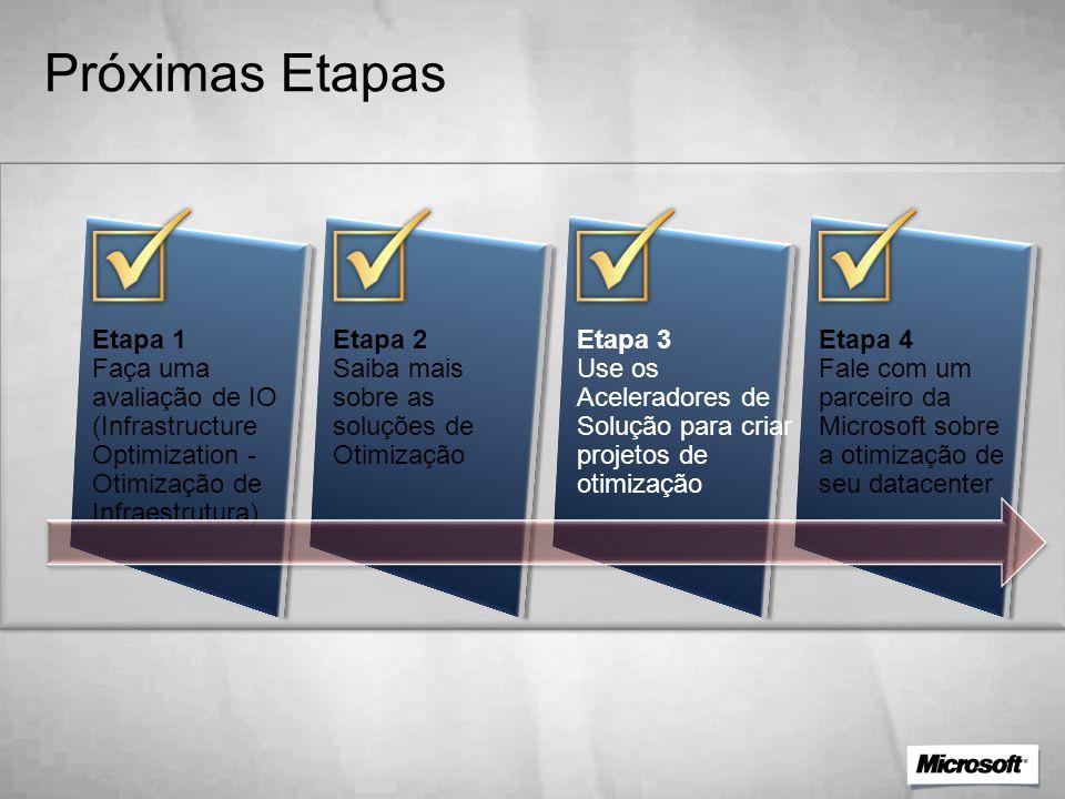 Próximas Etapas Etapa 1 Faça uma avaliação de IO (Infrastructure Optimization - Otimização de Infraestrutura) Etapa 2 Saiba mais sobre as soluções de