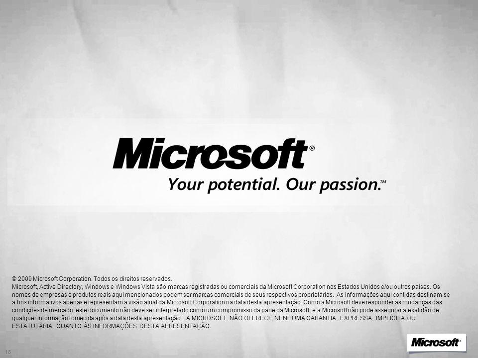 © 2009 Microsoft Corporation. Todos os direitos reservados. Microsoft, Active Directory, Windows e Windows Vista são marcas registradas ou comerciais