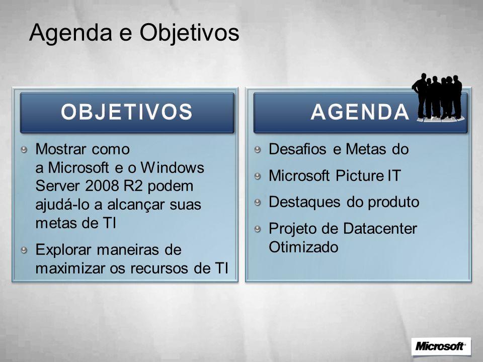 Agenda e Objetivos Mostrar como a Microsoft e o Windows Server 2008 R2 podem ajudá-lo a alcançar suas metas de TI Explorar maneiras de maximizar os re