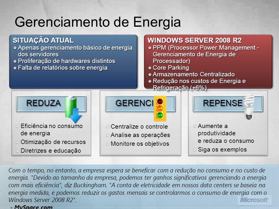Visão Geral dos Recursos PPM (Processor Power Management - Gerenciamento de Energia de Processador) Core Parking Armazenamento Centralizado Redução no