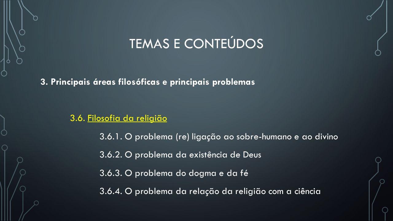 TEMAS E CONTEÚDOS 3. Principais áreas filosóficas e principais problemas 3.6. Filosofia da religião 3.6.1. O problema (re) ligação ao sobre-humano e a