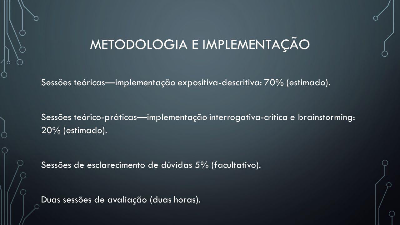 METODOLOGIA E IMPLEMENTAÇÃO Sessões teóricasimplementação expositiva-descritiva: 70% (estimado). Sessões teórico-práticasimplementação interrogativa-c