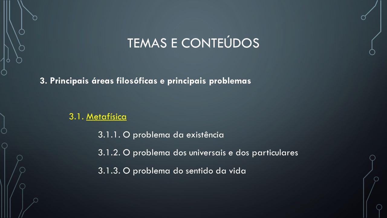 TEMAS E CONTEÚDOS 3. Principais áreas filosóficas e principais problemas 3.1. Metafísica 3.1.1. O problema da existência 3.1.2. O problema dos univers