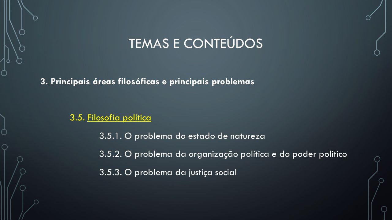 TEMAS E CONTEÚDOS 3. Principais áreas filosóficas e principais problemas 3.5. Filosofia política 3.5.1. O problema do estado de natureza 3.5.2. O prob