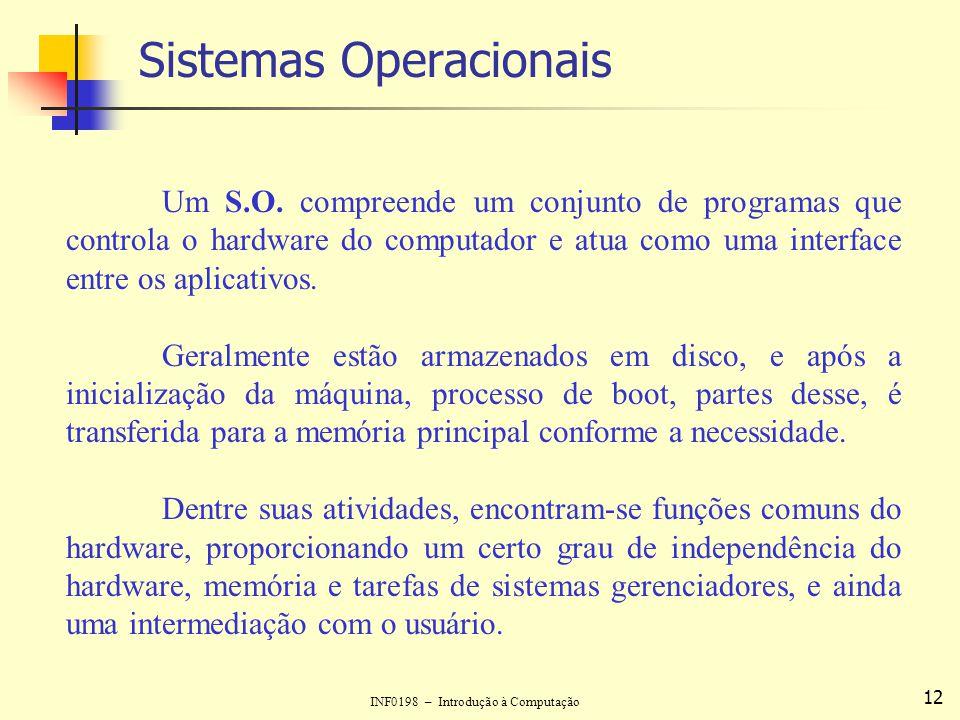 INF0198 – Introdução à Computação 12 Sistemas Operacionais Um S.O. compreende um conjunto de programas que controla o hardware do computador e atua co