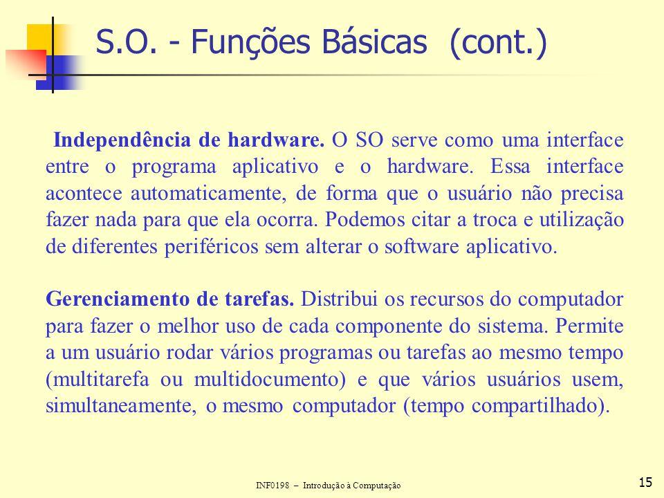 INF0198 – Introdução à Computação 15 S.O. - Funções Básicas (cont.) Independência de hardware. O SO serve como uma interface entre o programa aplicati