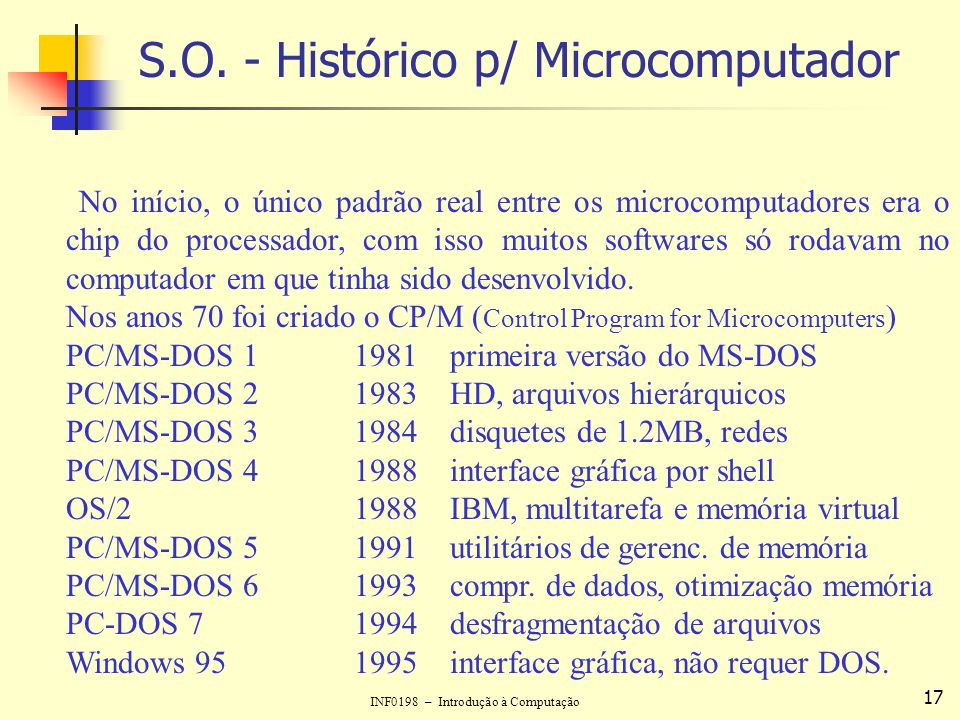 INF0198 – Introdução à Computação 17 S.O. - Histórico p/ Microcomputador No início, o único padrão real entre os microcomputadores era o chip do proce
