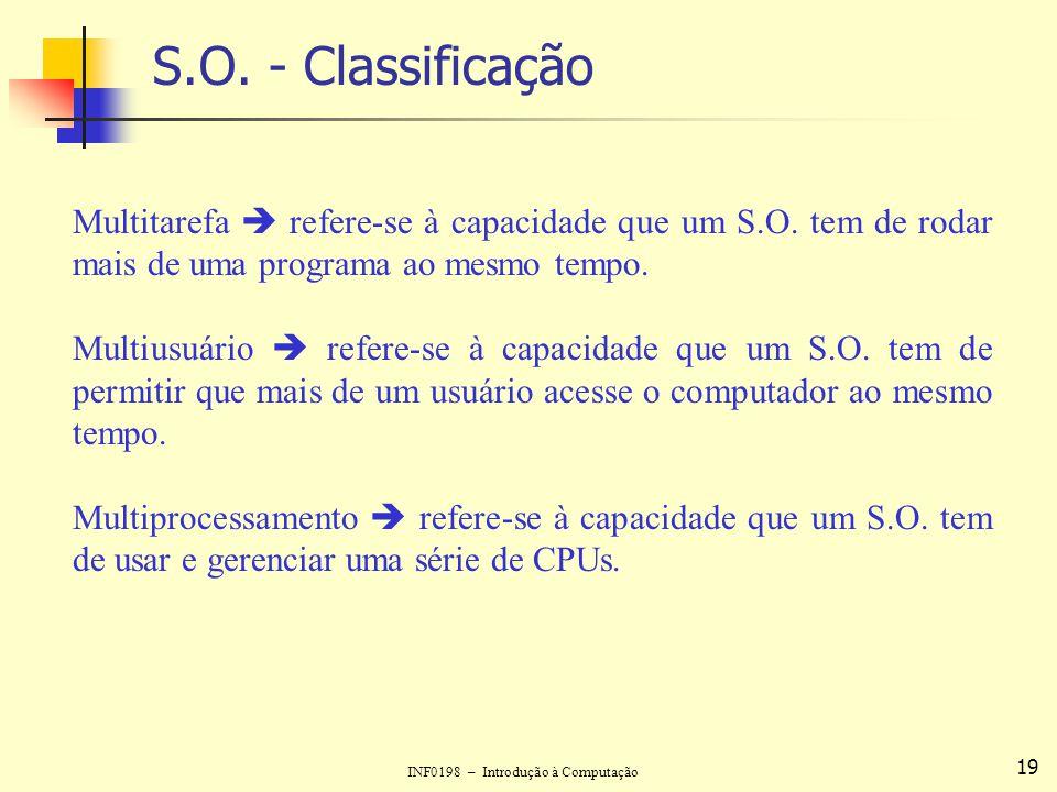 INF0198 – Introdução à Computação 19 S.O. - Classificação Multitarefa refere-se à capacidade que um S.O. tem de rodar mais de uma programa ao mesmo te