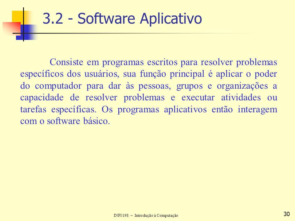 INF0198 – Introdução à Computação 30 3.2 - Software Aplicativo Consiste em programas escritos para resolver problemas específicos dos usuários, sua fu