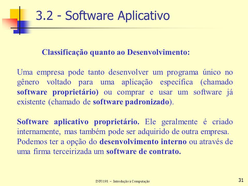 INF0198 – Introdução à Computação 31 3.2 - Software Aplicativo Classificação quanto ao Desenvolvimento: Uma empresa pode tanto desenvolver um programa