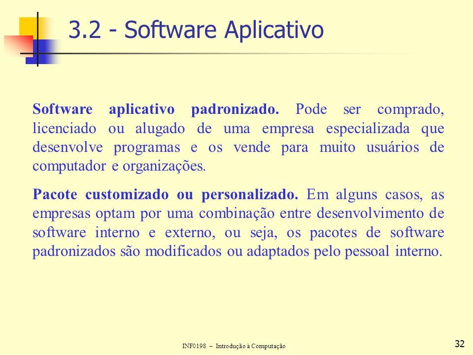 INF0198 – Introdução à Computação 32 3.2 - Software Aplicativo Software aplicativo padronizado. Pode ser comprado, licenciado ou alugado de uma empres
