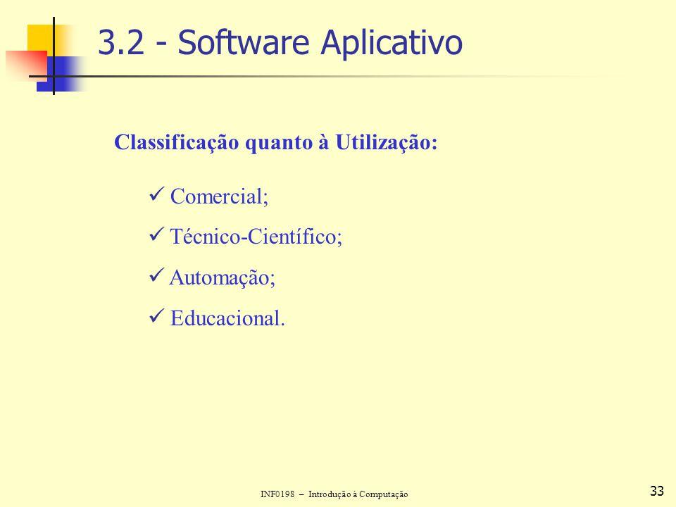 INF0198 – Introdução à Computação 33 3.2 - Software Aplicativo Classificação quanto à Utilização: Comercial; Técnico-Científico; Automação; Educaciona