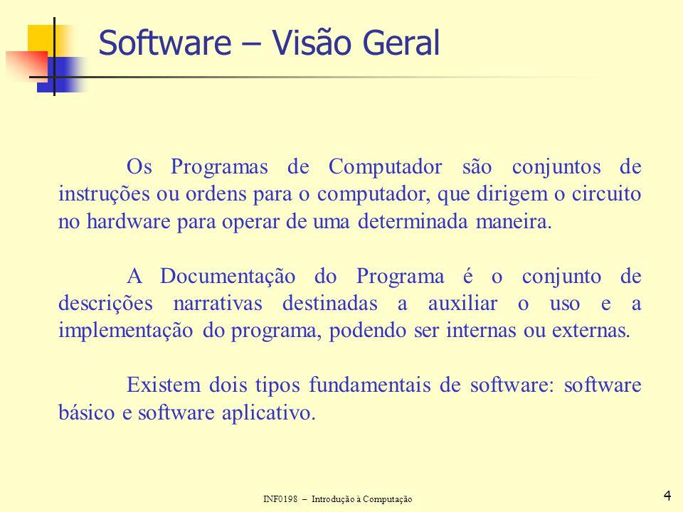 INF0198 – Introdução à Computação 5 Software – Visão Geral O software básico (ou de sistemas) constitui um conjunto de programas projetados para coordenar as atividades e funções do hardware e de vários programas que rodam no computador.
