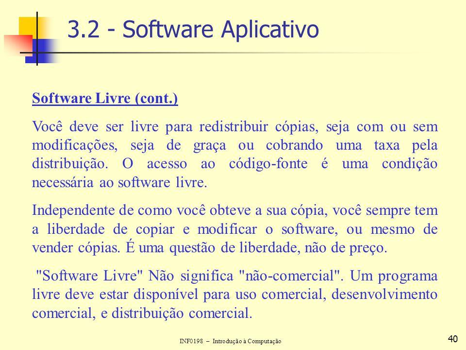 INF0198 – Introdução à Computação 40 3.2 - Software Aplicativo Software Livre (cont.) Você deve ser livre para redistribuir cópias, seja com ou sem mo