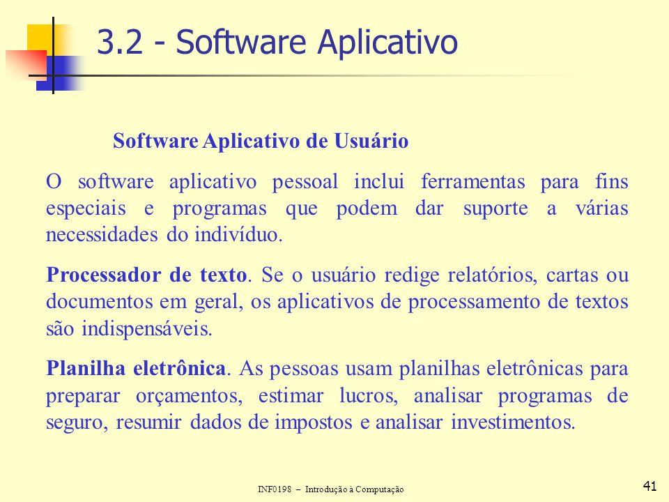 INF0198 – Introdução à Computação 41 3.2 - Software Aplicativo Software Aplicativo de Usuário O software aplicativo pessoal inclui ferramentas para fi