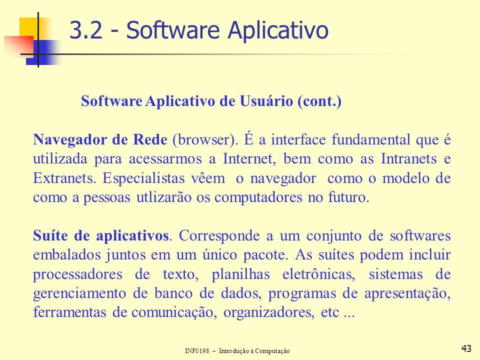 INF0198 – Introdução à Computação 43 3.2 - Software Aplicativo Software Aplicativo de Usuário (cont.) Navegador de Rede (browser). É a interface funda