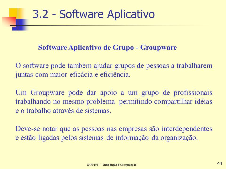 INF0198 – Introdução à Computação 44 3.2 - Software Aplicativo Software Aplicativo de Grupo - Groupware O software pode também ajudar grupos de pessoa