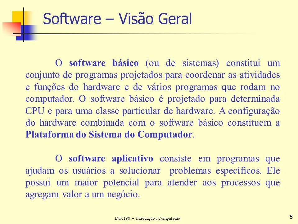 INF0198 – Introdução à Computação 6 Software Básico ou de Sistemas Existem três tipos fundamentais de software básico: Programas Tradutores de Linguagem; Programas Utilitários; Sistemas Operacionais.