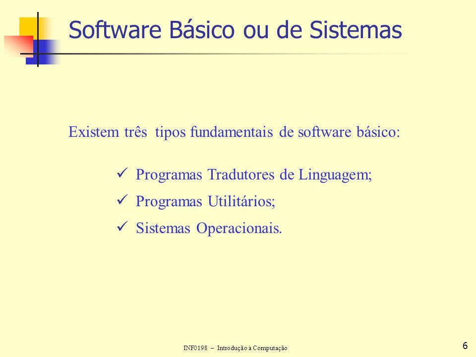 INF0198 – Introdução à Computação 6 Software Básico ou de Sistemas Existem três tipos fundamentais de software básico: Programas Tradutores de Linguag